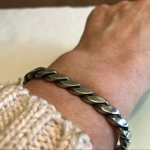 Heavy Sterling Silver 925 Twisted Cuff Bracelet